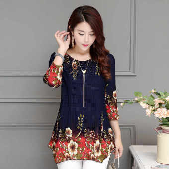 Floral Korean-style female New style Plus-sized Top chiffon shirt (Blue (9934))