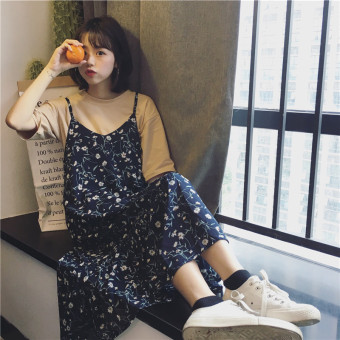 Floral Korean-style mid-length chiffon dress Dungaree dress