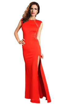 Floral Lace Patchwork Fishtail Side Slit Long Dress (Red) (Intl)