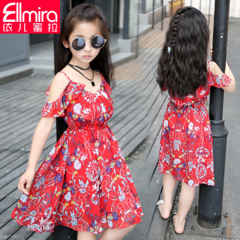 Floral Red Summer Korean-style skirt girls dress