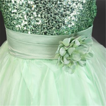 Flower Girl Kids Baby Xmas Bridesmaid Party Formal Sequin Ball GownDress 2-10Y(Green) - intl - 5