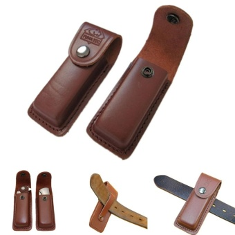 folding tool flashlight belt loop case holder leather sheathholster pouch bag pocket hunt camp outdoor carry edc multi gear -intl