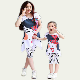 (For Mother and Daughter) Spring Mother and Daughter MatchingShort-sleeved Dress and Wave Point Leggings Suit Family Clothing(Bowknot pattern) - intl