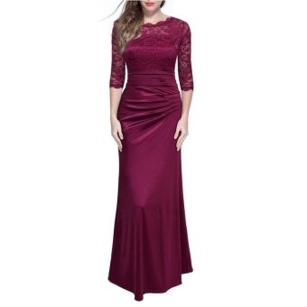 Formal Evening Party Dresses Plus Size Solid Lace Hollow Out O-neck Women Summer Maxi Long Vintage Dress - intl