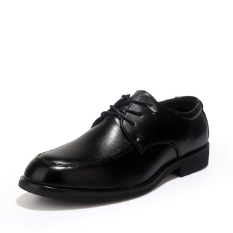 Formal Leather Flat Shoes - Black