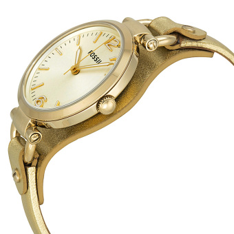 Fossil Georgia Women's Metallic Rose Gold Leather Watch ES3413 - picture 2