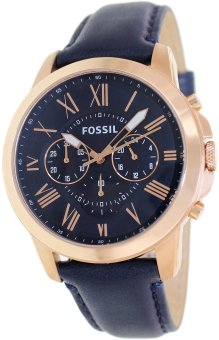 Fossil Men's Blue Leather Strap Watch FS4835