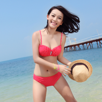 Four Yi Kai sexy female steel prop gather bikini bathing suit