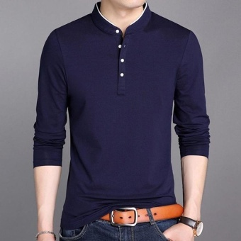 FRD Mens Solid Color Casual Light Weight Long Sleeve Polo Shirt -intl FRD