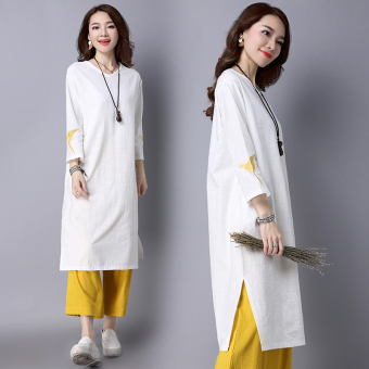 Fresh embroidery New style elegant dress (Yellow pants)