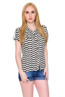 Freshgear Girls Stripes Short Sleeve Shirt (Caviar)