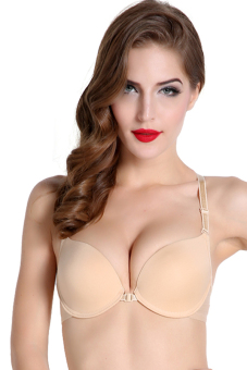Front Closure Racer Back Push Up Seamless Bra (Beige) - picture 2