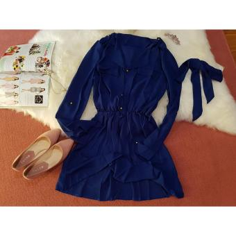 Front Pockets Design Collared Long Sleeve Chiffon Blue Casual Dress - 4