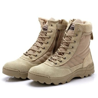 FSW Men's Desert Military Tactical Boot Round Toe Hiking Boots - Khaki - Intl