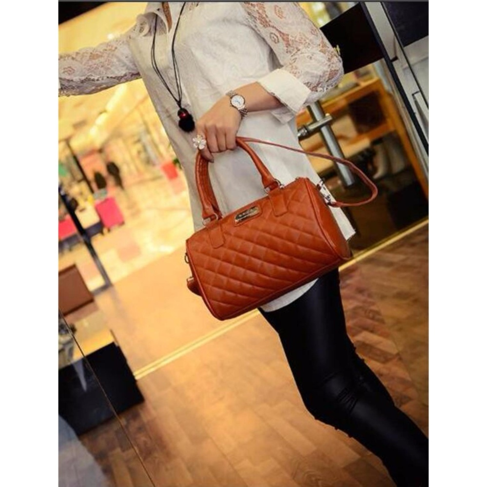 ... Fudun Mango Quilted Bowling Cross Body Leather Hand Bag(Brown) - intl ...