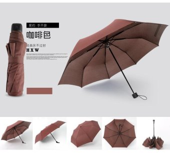 Fully-automatic Women Rain Umbrella 8 Strong Frame Double ThreeFolding Pongee Sunny Rainy Umbrellas(Brown) - intl Price Philippines