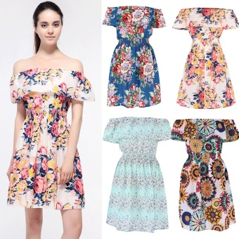 Gamiss Casual Print Off Shoulder Women Dress Ruffles High Waist Casual Beach Boho Dress - intl