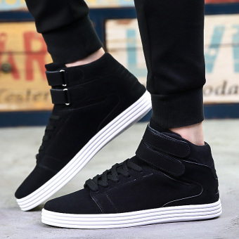 Gao Bang winter New style men's flat shoes hight-top shoes (Black)
