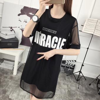 Gauze New style letter Print two piece suit Dungaree dress (Black)