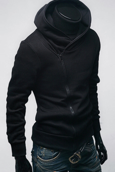 GE Men Stylish Thickening hoodie jacket / coat / sweatshirt 3Colors (Black)