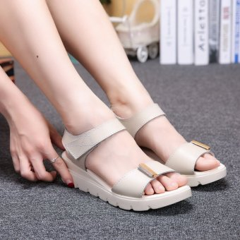 Genuine leather breathable wedge Ladies fashion sandals comfortable- intl