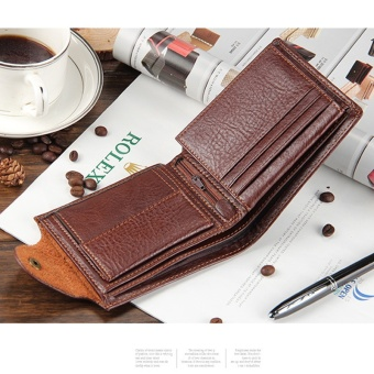 Genuiner leather Men's wallet with coin pocket money bag hasp card holder purse for male - intl