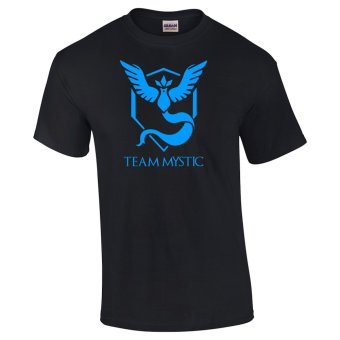 Gildan Brand Pokemon Go Team Articuno Team Mystic Design T-Shirt(Black)