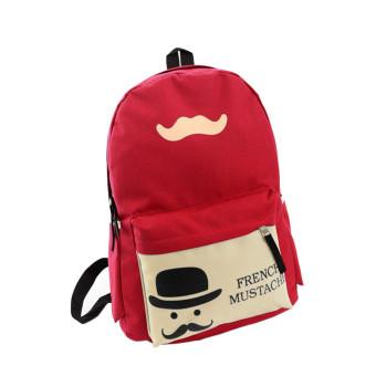 Girl Canvas School Bag Backpack Travel Rucksack Shoulder Bag (Red) - Intl