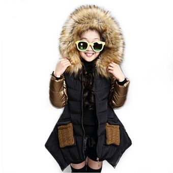 Girl clothing kids clothes winter children outerwear coats princessgirls jacket children's wear Black