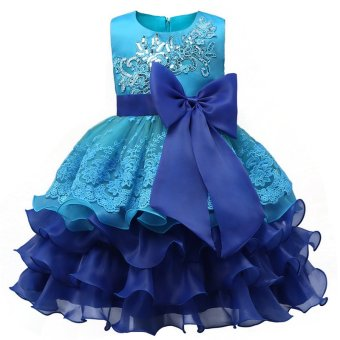 Girl Dress Children Kids Dresses For Girls 3 4 5 6 7 8 YearBirthday Outfits Dresses Girls Evening Party Formal Wear Blue -intl