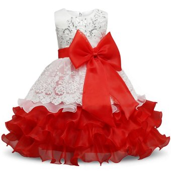 Girl Dress Children Kids Dresses For Girls 3 4 5 6 7 8 YearBirthday Outfits Dresses Girls Evening Party Formal Wear Red - intl