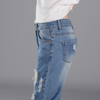 Girl jeans stright casual blue show ankle cropped jeans - 5