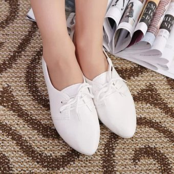 ... Girlhood laced leather shoes-White - intl - 4