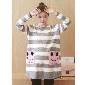 Girlhood Loose stripe maternity dress-Grey - intl - 2