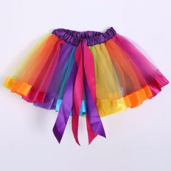 Girls Kid Rainbow Pettiskirt Bowknot Skirt Lovely Ribbons Tutu Skirt Dancewear Fluffy Handmade Party dance Performance Ball gown - intl - 2