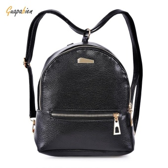 Girls PU Leather Zipper Closure Small Backpack Shoulder Bag For Women - intl