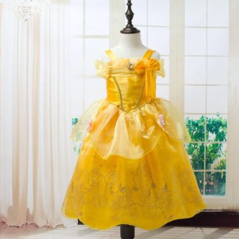 Girls Summer Belle Dresses Princess Costume Party Clothing Beautyand the Beast Yellow Dress Sleeveless Clothes - intl Price Philippines