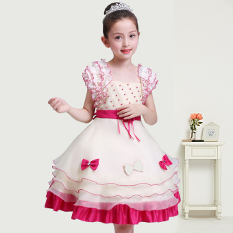 Girls' Puff Dress (Rose color)