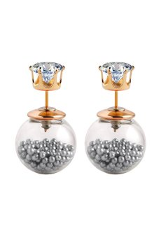 Glass Pearl Crystal Ball Transparent Stud Earrings (Grey)