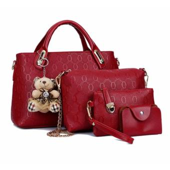GMY Sweety Girl Korean Leather 4 in 1 Bags Women Fashion Handbags -Red