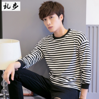 God casual striped shirt bottoming (Fine striped hoodie black)