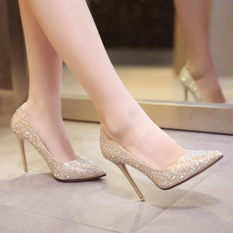 Gold female thin heeled pointed wedding shoes high-heeled shoes (Silver 7 CM) (Silver 7 CM)
