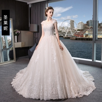 Gongzhuxinniang European and American New style luxury round neck wedding veil dress (Zip Qi to models)