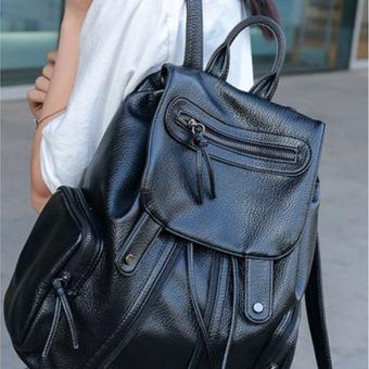 GOOD Leisure Women Travelling Pu Leather Backpack Rucksack School Bags Black - 2