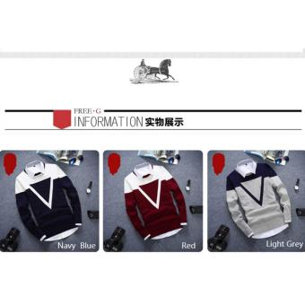 Good Quality Winter Autumn O-neck Long Sleeve Triangle Men Sweater(Red) - intl - 4