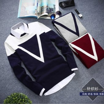 Good Quality Winter Autumn O-neck Long Sleeve Triangle Men Sweater(Red) - intl - 5