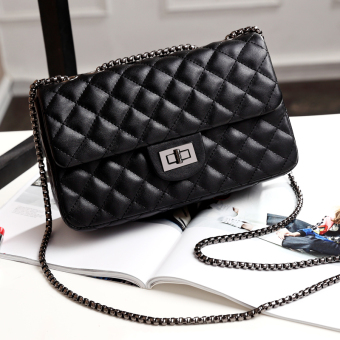 Graceful autumn and winter New style quilted chain bag women's bag (Noble Black large)