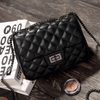 Graceful autumn and winter New style quilted chain bag women's bag (Noble Black small)