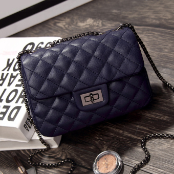 Graceful autumn and winter New style quilted chain bag women's bag (Noble dark blue color small)
