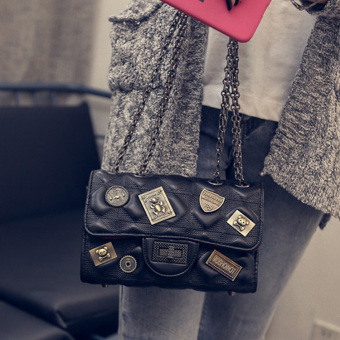 Graceful European and American badge Lingge chain bag New style women's bag (Black small)